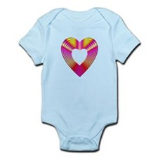 3-D Pink and Yellow Heart Onesie