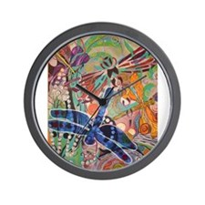 Cosmic Dragonflies Wall Clock