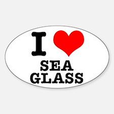 I Heart (Love) Sea Glass Oval Decal