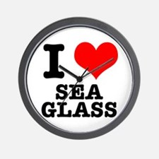 I Heart (Love) Sea Glass Wall Clock