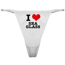 I Heart (Love) Sea Glass Classic Thong