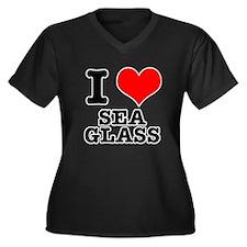 I Heart (Love) Sea Glass Women's Plus Size V-Neck