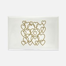 Golden Hearts Rectangle Magnet
