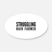 Struggling Hair Farmer Oval Car Magnet