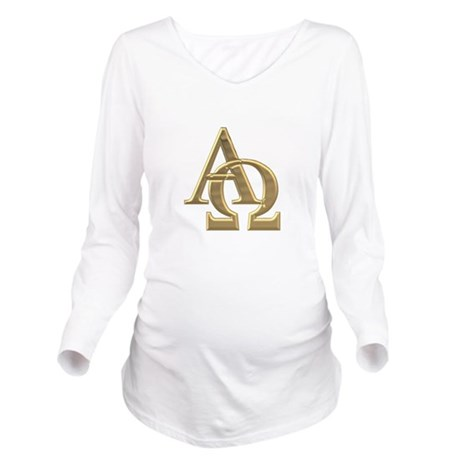 """3-D"" Golden Alpha and Omega Symbol Long Sleeve Ma"