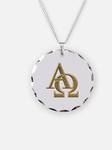 """""""3-D"""" Golden Alpha and Omega Symbol Necklace"""