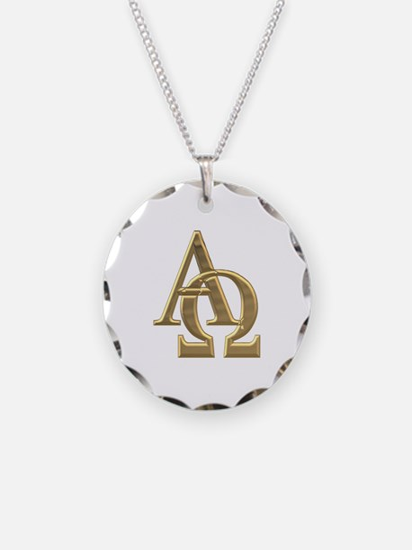 """3-D"" Golden Alpha and Omega Symbol Necklace Circl"