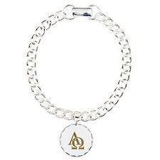 """""""3-D"""" Golden Alpha and Omega Symbol Bracelet"""