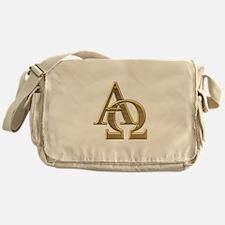 """""""3-D"""" Golden Alpha and Omega Symbol Messenger Bag"""