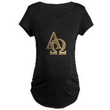 """3-D"" Golden Alpha and Omega Symbol T-Shirt"