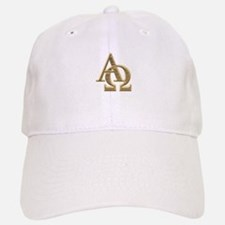 """3-D"" Golden Alpha and Omega Symbol Baseball Baseball Cap"