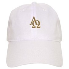 """3-D"" Golden Alpha and Omega Symbol Baseball Cap"
