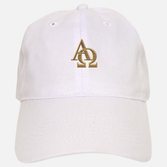 """3-D"" Golden Alpha and Omega Symbol Hat"