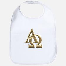 """""""3-D"""" Golden Alpha and Omega Symbol Bib"""