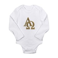 """3-D"" Golden Alpha and Omega Symbol Long Sleeve In"
