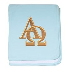 """3-D"" Golden Alpha and Omega Symbol baby blanket"