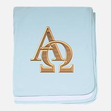 """""""3-D"""" Golden Alpha and Omega Symbol baby blanket"""