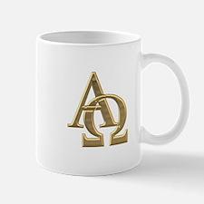 """3-D"" Golden Alpha and Omega Symbol Small Small Mug"