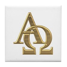 """3-D"" Golden Alpha and Omega Symbol Tile Coaster"