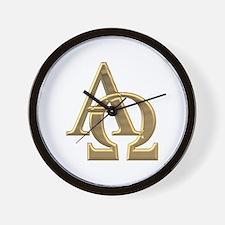 """""""3-D"""" Golden Alpha and Omega Symbol Wall Clock"""