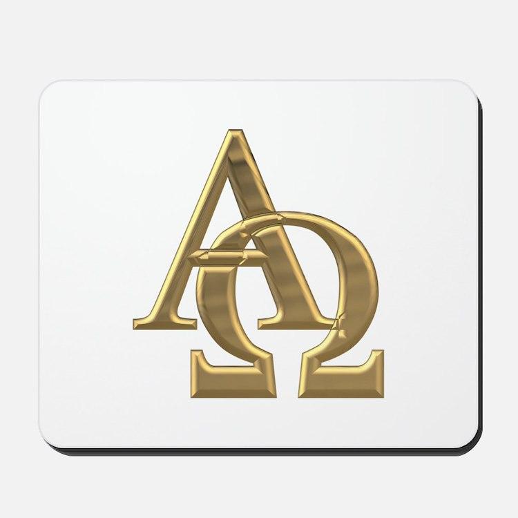 """3-D"" Golden Alpha and Omega Symbol Mousepad"