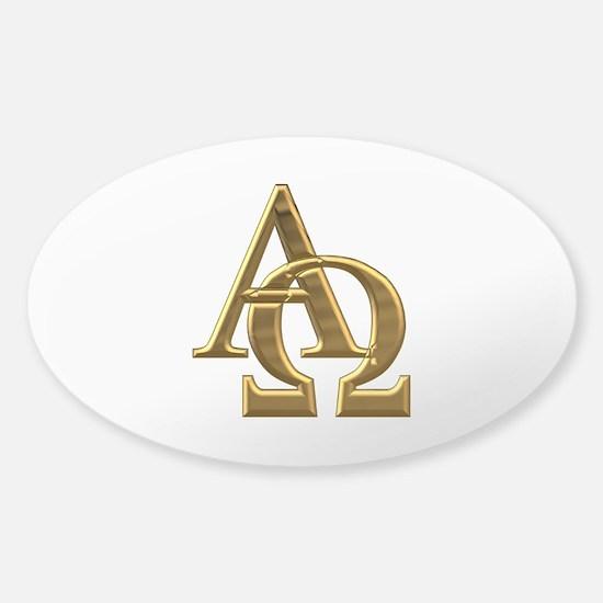 """""""3-D"""" Golden Alpha and Omega Symbol Sticker (Oval)"""