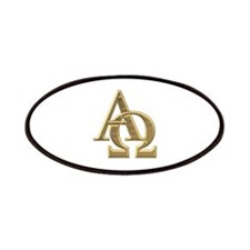 """""""3-D"""" Golden Alpha and Omega Symbol Patches"""