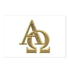 """3-D"" Golden Alpha and Omega Symbol Postcards (Pac"