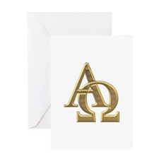 """3-D"" Golden Alpha and Omega Symbol Greeting Card"