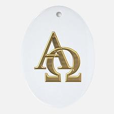 """3-D"" Golden Alpha and Omega Symbol Ornament (Oval"