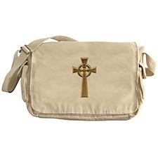 """3-D"" Golden Celtic Cross Messenger Bag"