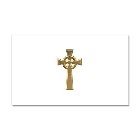 """3-D"" Golden Celtic Cross Car Magnet 20 x 12"