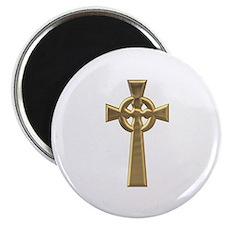 """""""3-D"""" Golden Celtic Cross Magnet"""