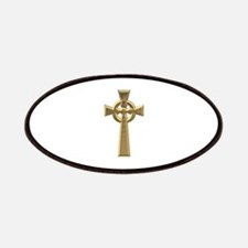 """3-D"" Golden Celtic Cross Patches"