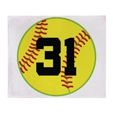 Softball Sports Player Number 31 Throw Blanket