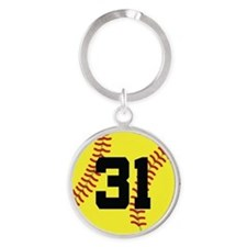 Softball Sports Player Number 31 Round Keychain