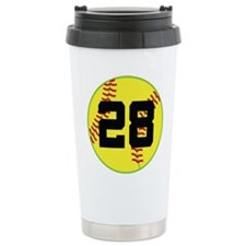 Softball Sports Player Number 28 Travel Mug