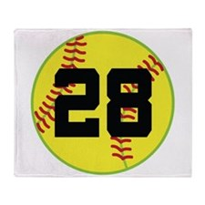Softball Sports Player Number 28 Throw Blanket
