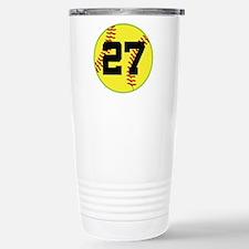 Softball Sports Player Number 27 Travel Mug
