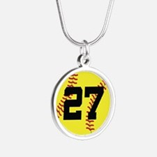Softball Sports Player Number 27 Silver Round Neck