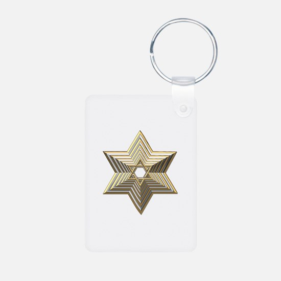 3-D Silver and Gold Star of David Keychains