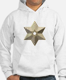 3-D Silver and Gold Star of David Hoodie