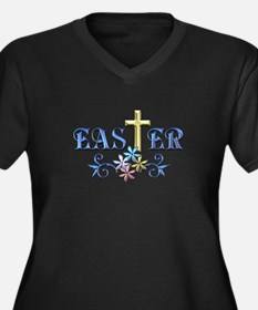 Easter Cross Women's Plus Size V-Neck Dark T-Shirt