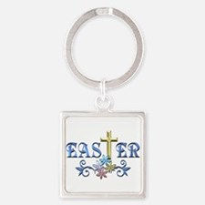 Easter Cross Square Keychain