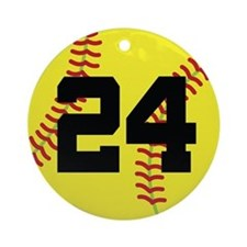 Softball Sports Player Number 24 Ornament (Round)