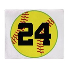 Softball Sports Player Number 24 Throw Blanket