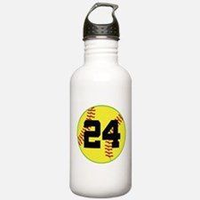 Softball Sports Player Number 24 Water Bottle