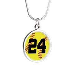 Softball Sports Player Number 24 Silver Round Neck