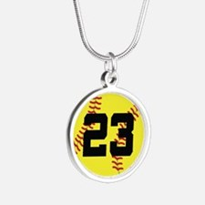 Softball Sports Player Number 23 Silver Round Neck