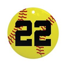 Softball Sports Player Number 22 Ornament (Round)
